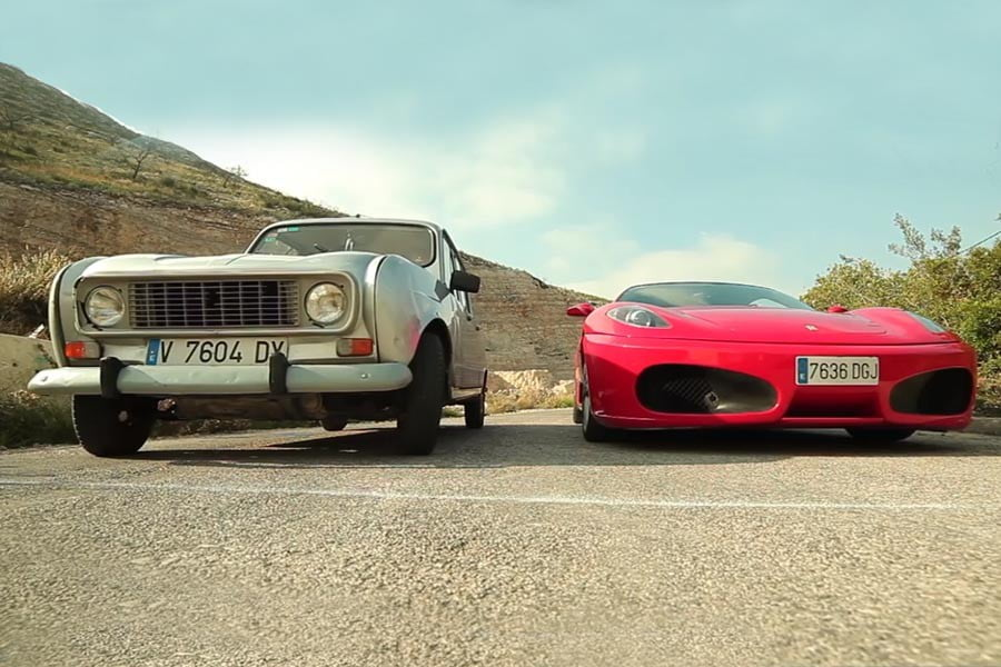 Renault 4L vs C 63 AMG και F430 με... τέλος έκπληξη!
