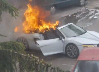 Νυφικό Audi R8 τυλίχτηκε στις φλόγες!