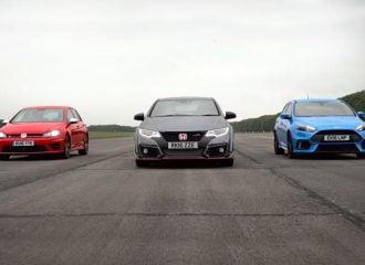 Κόντρα Ford Focus RS vs Honda Civic Type R vs VW Golf R (video)