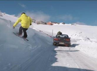 Στην Βασιλίτσα με Nissan Silvia S13 και… έναν snowboarder (+video)