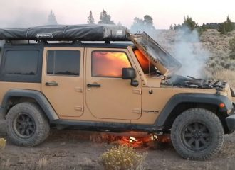 Πήγε για γύρισμα και του κάηκε το Jeep Wrangler (+video)