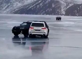 Drift σε παγωμένη λίμνη πήγε τελείως στραβά (+video)