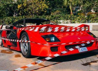 Ότι απέμεινε από την καμένη Ferrari F40!