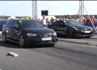 Audi S3 «φορτώνει» Nissan GT-R (+video)