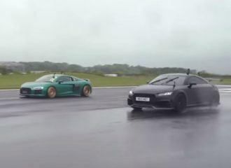 Σπαραγμός μεταξύ Audi TT RS-R και R8 (+video)