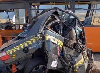 Αυτοκίνητο τράκαρε σε λεωφορείο με 208 χλμ./ώρα!
