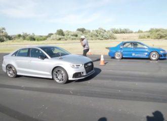 Mitsubishi Evo 8 «διδάσκει» Audi RS 3 (+video)